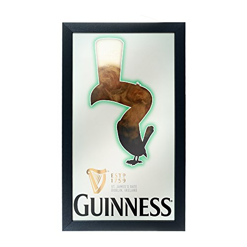 Trademark Gameroom Guinness Framed Mirror Wall Plaque 15 X 26 - Feathering
