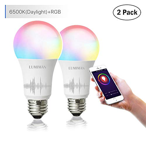 Smart WiFi Light Bulb, LED RGB Color Changing, Compatible with Amazon Alexa and Google Home Assistant, No Hub Required, A19 E26 Multicolor LUMIMAN 2 Pack by LUMIMAN (Image #7)