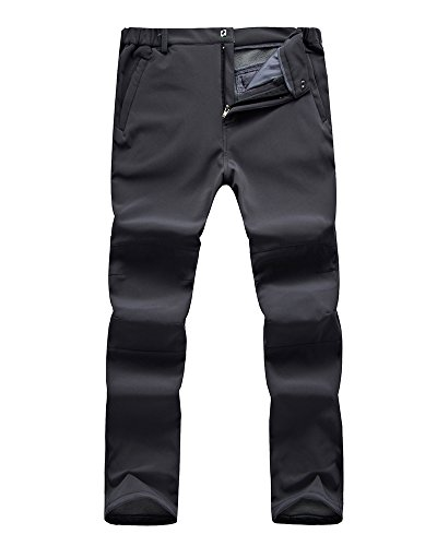 Jessie Kidden Men's Outdoor Fleece-Lined Windproof Waterproof Hiking Mountain Ski Pants, Soft Shell Insulated Trousers #NK-801,Grey,XL 38