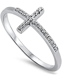 Sterling Silver 925 Sideways Cross Ring with Cubic-Zirconia Sizes 4-10