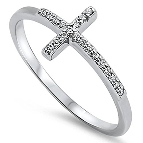 Sterling Silver 925 Sideways Cross Ring with Cubic-Zirconia Sizes 7-9 (10) - Box Sterling Silver Ladies Ring