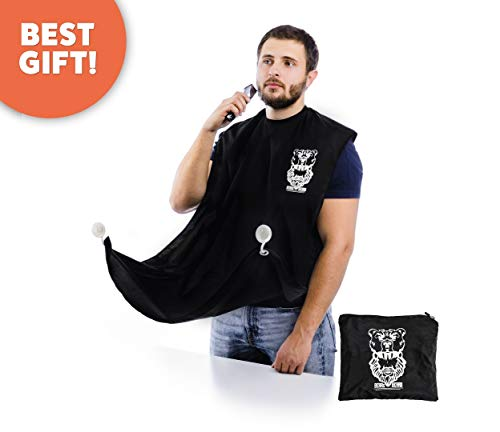 Bear's Beard Beard Bib + Good Gift - Beard Catcher Apron for Trimming Your Beard - to Keep Yourself and your Sink Clean - Perfect Gift for Men (Black) ()