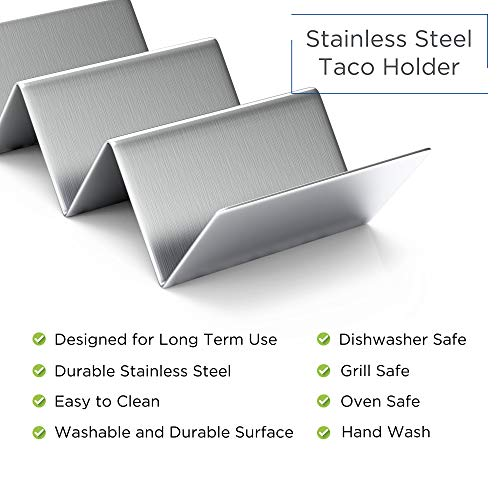 """Pack of 4 - Stainless Steel Taco Holder Stand - Truck Tray Style - Each Rack Holds Up to 3 Tacos - Oven, Grill & Dishwasher Safe - Size 8"""" x 4"""" x 2"""""""