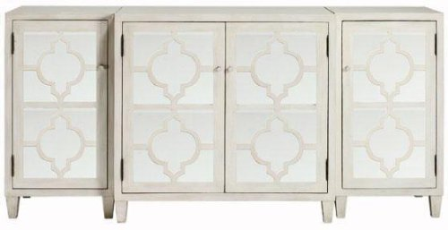 Reflections Mirrored Three piece Cabinet Set, 3 PIECE SET, WHITE (Buffets Mirrored Sideboards)