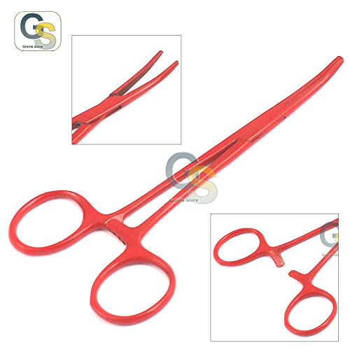 G.S Lot of 2 Pcs Straight & Curved Crile Hemostat Forceps Locking Clamps 5.5'' Red Color Stainless Steel Best Quality by G.S ONLINE STORE (Image #2)