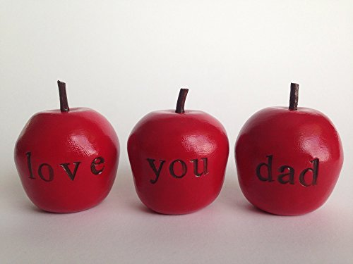 """Love you dad Handcrafted and Stamped Polymer Clay expressions decoration apple gift set great gift for Father's Day, Wedding, gift idea from daughter and son. """"Handcrafted in the USA."""""""