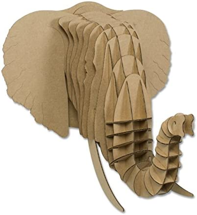 Cardboard Safari Recycled Cardboard Animal Taxidermy Elephant Trophy Head, Eyan Brown Giant