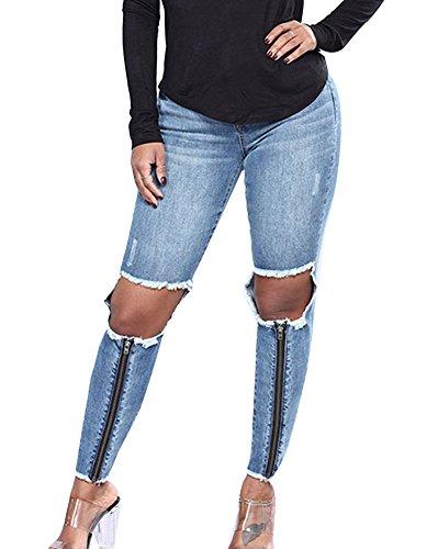 Push Vaqueros Up Pitillo Elasticos Rotos Jeans Pantalones Rasgados Skinny Tejanos Mujer Azul Cintura Alta Boyfriend npxqIwXvPz