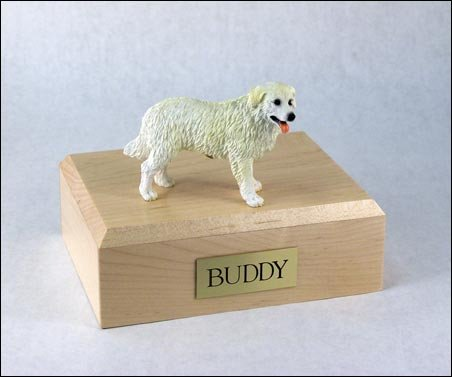 GENUINE North American Hardwood and Kuvasz Dog Figurine Urn Xlarge