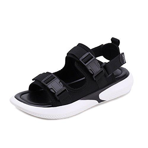 ZHANGJIA Hong Kong Sandals Female Retro Xia Wai Wearing Wild Two Wear Students Flat Slippers black