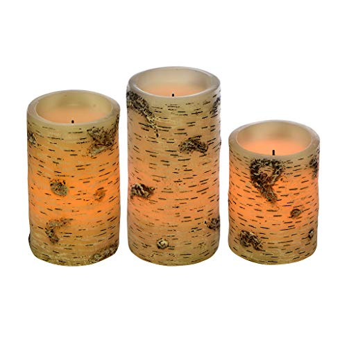 """Sterno Home CGT13410WH3 LED Flameless Candle Trio, White Birch Finish Set of 3 4"""", 5"""", and 6"""" Heights"""