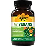 Country Life Max for Vegans - 120 Vegan Capsules - May Help Support Overall Health and Well-Being - Contains Vitamin B12…