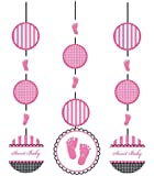 3-Piece Hanging Cutout Party Decorations, Sweet Baby Feet Pink