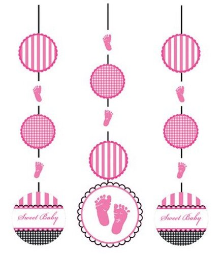 (3-Piece Hanging Cutout Party Decorations, Sweet Baby Feet Pink)