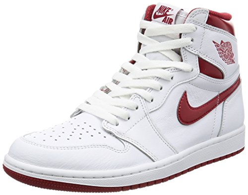 Nike Men's Air Jordan 1 Retro High OG White/VarsityRed 555088-103 (SIZE: 12) by Jordan