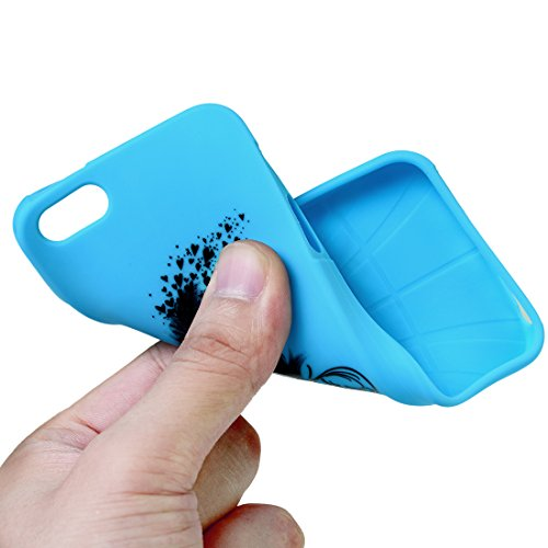 iPhone 5/5S TPU Silikon Case,Kasos iPhone 5/5S Hülle mit Feder Design Handy Cover Schutzhülle in Blau mit Stylus Pen und Staubstecker