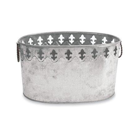 - Galvanized Steel Fleur de Lis Party Ice Tub for Beverages