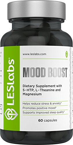 Mood Boost Natural Stress & Anxiety Relief and Relaxation Formula by LES Labs (60 Vegetarian Capsules with 5-HTP, Passion Flower, L-Tyrosine, Suntheanine L-Theanine, Ashwagandha, Rhodiola Rosea, Lemon Balm, Chamomile and GABA) • Natural Formula • 100% Money Back Guarantee