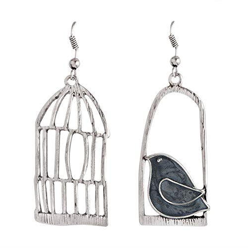 Gaweb Earrings for women,Creative Bird Cage Alloy Pendant Women Hook Drop Dangle Earrings Jewelry Gift Black