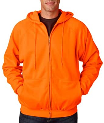 UltraClub Adult Rugged Wear Thermal-Lined Full-Zip Jacket - Bright Orange - S