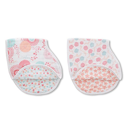 "Burpy Bib - aden + anais Classic Burpy Bib, Tea Collection, 100% Cotton Muslin, Soft Absorbent 4 Layers, Multi-Use Burp Cloth and Bib, 22.5"" X 11"", 2 Pack, Global Garden"