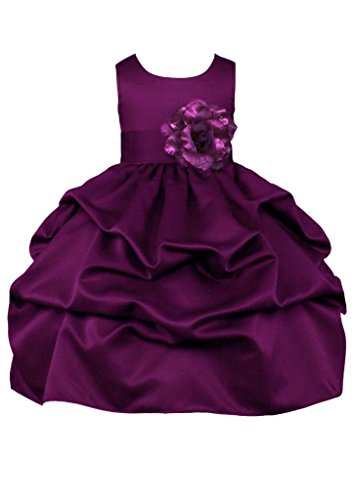 Prince Lover Wedding Pageant Plum Pick-Up Formal Flower Girl Dress with Bow