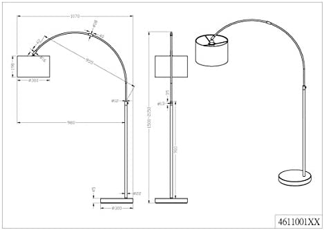 Höhe 150-215cm Nickel matt Stoffschirm schwarz Bogenleuchte E27