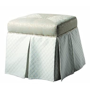 Jennifer Taylor Home, Storage Vanity Stool, Teal Tan, Rayon Blend, Hand Tufted w/ Pleated Skirt