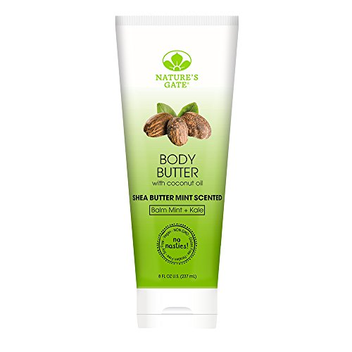 Nature's Gate Natural Body Butter, Balm Mint and Kale, Shea Butter Mint Scented, Gently Hydrates and Moisturizes Skin; Vegan, Non GMO, Gluten Free, Paraben Free, Cruelty Free, 8 Ounce Recyclable Tube