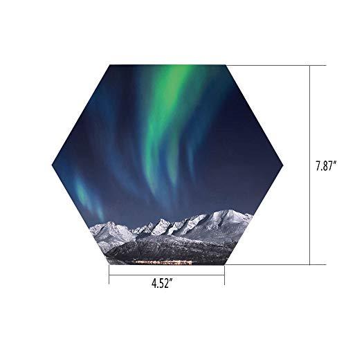 PTANGKK Hexagon Wall Sticker,Mural Decal,Sky Decor,Northern Lights Aurora Over Fjords Mountain at Night Norway Solar Image Art,Green Dark Blue,for Home Decor 4.52x7.87 10 Pcs/Set