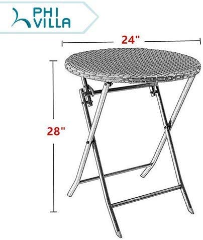 PHI VILLA Outdoor Rattan Wicker Folding Picnic Table Patio Porch Dining Table 24 Rattan Table