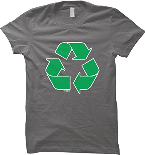 Distressed Green Recycle Logo WOMENS T-shirt (Small, CHARCOAL)