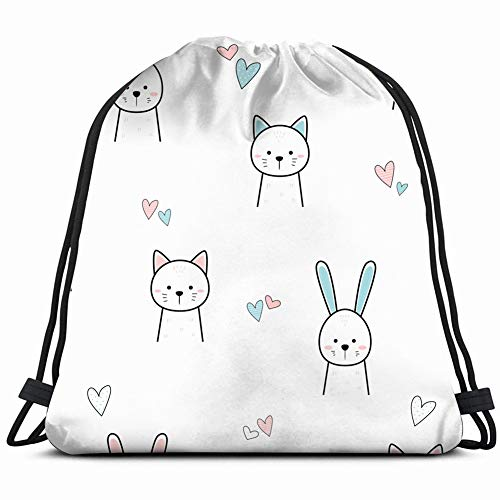 cute adorable cat rabbit animal thin animals wildlife backgrounds textures Drawstring Backpack Gym Spacious Pull String Backpack Multifunctional storage bag 14.2 x 16.9 inch -