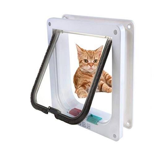 Huasen 4-Way Lockable Cat Door, Cat in and Out Hole Cat Flap Pet Door Kit for Cats and Small Dogs - S White