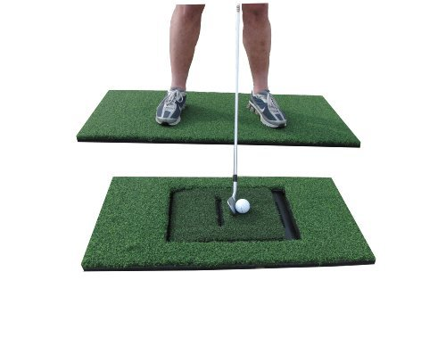 PREMIUM PRO TURF 24 x 48 Golf Stance and 12 x 24 Combo Hitting Mats for The Golf Simulator Sensor