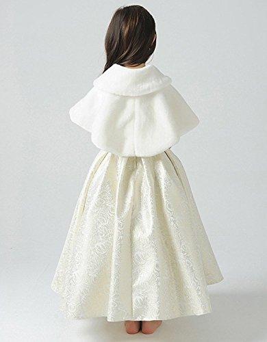 Fankeshi Ivory Flower Girl Faux Fur Shawl Wraps Cape Kids Wedding Communion S by Fankeshi (Image #4)