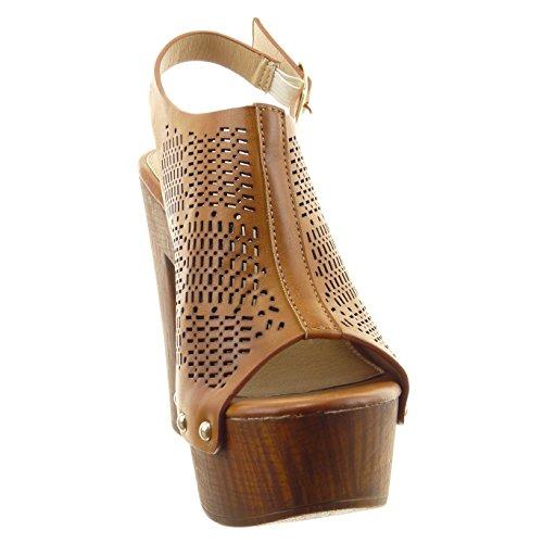 Sopily - damen Mode Schuhe Sandalen Offen Perforiert Nieten - besetzt - Camel