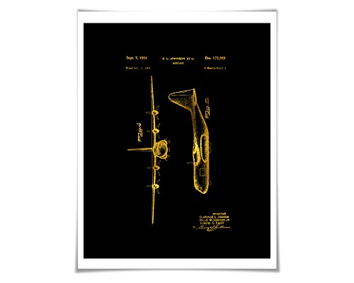 - Lockheed C-130 Hercules Airplane Patent Gold Foil Art Print. 36 Colours. Aviation Poster.