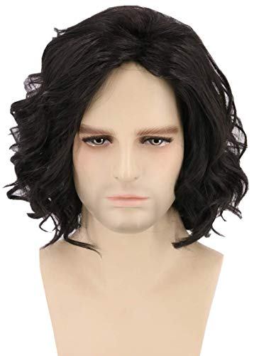Lemarnia Mens Wigs Black Short Curly Jon Snow Cosplay Wig Halloween Costume Wigs -