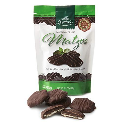 Barton's Dark Chocolate Mint Matzos, Mini Matzo Crackers, Kosher For Passover, 5.5-Ounce Bag (Single) - Pouch Mint Chocolate