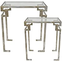 TIC Collection 61-190 Key 2 Piece Side Table Set, Silver