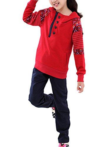 Banner Bonnie Girls' Cotton Long Sleeve Tracksuit Hoodie Sweatshirt Sweat Pant Sets Red 8-9 Years