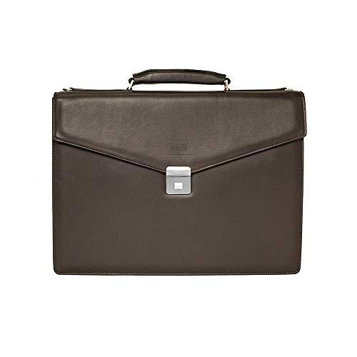 Giorgio Armani Collezioni Men's Grained Leather Briefcase Bag with Shoulder Strap Dark Brown