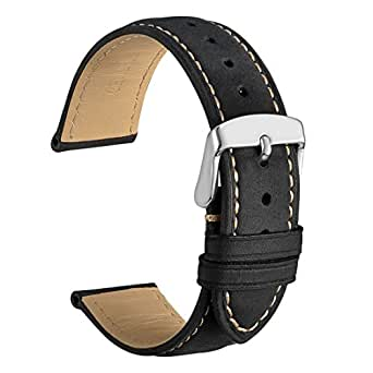 WOCCI 14mm Watch Band Balck Vintage Leather Watch Strap for Men or Women