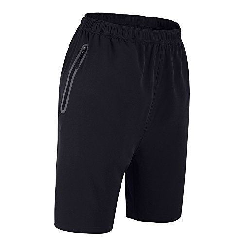 WFTBDREAM Mens Shorts Casual Athletic Shorts For Men With Zipper Pockets Black M