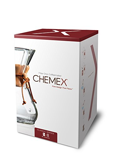Chemex Classic Series, Pour-over Glass Coffeemaker, 8-Cup – Exclusive Packaging
