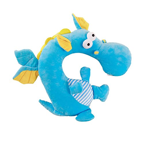 LUCKSTAR U-shaped Pillow - Soft & Small Cartoon Neck Pillow Comfortable Travel Pillow Animal Travel Neck Pillow Plush Toy Provides Relief and Support for Neck Pain Suit for Travel, Home (Blue Dragon) by LUCKSTAR (Image #1)