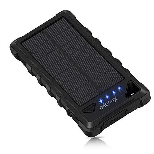 Xnuoyo Cargador Solar Portátil 20000mAh Impermeable Batería LED de luz de Emergencia para Panel Solar Alta Conversión…