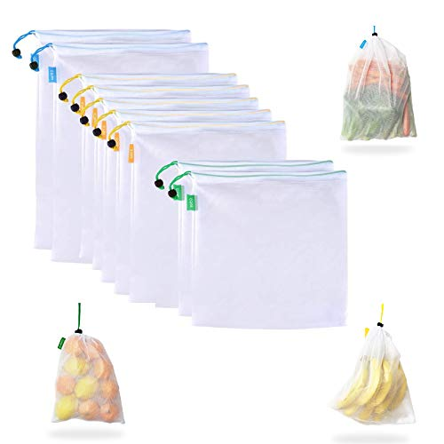 Suppaware Reusable Produce Mesh Bags - 9pk small, medium & large, drawstring color coded - Tare weight label - Keep fruits, vegetables & grocery in eco friendly bag - Organize household, kitchen items
