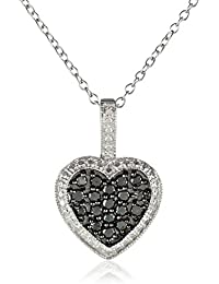 """Sterling Silver and Black Diamond Heart Pendant Necklace (1/2 cttw), 18"""""""